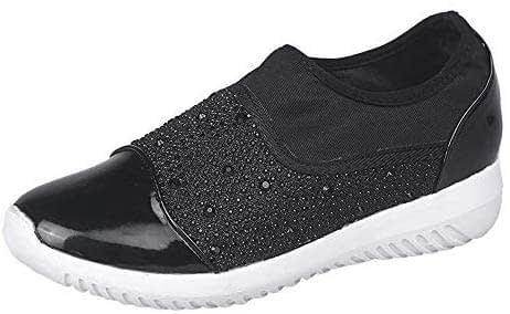 Sneakers plates, mode LuckyGirls New sneakers automne hiver Femme sneakers sans lacets Femme Chaussures plates Wedges Casual Sportwear Tennis 36-44