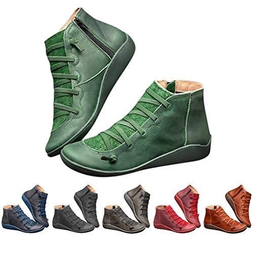 Bottes à lacets pour femmes Bottes d'hiver Bottes à glissière rétro en simili cuir économique Youngii