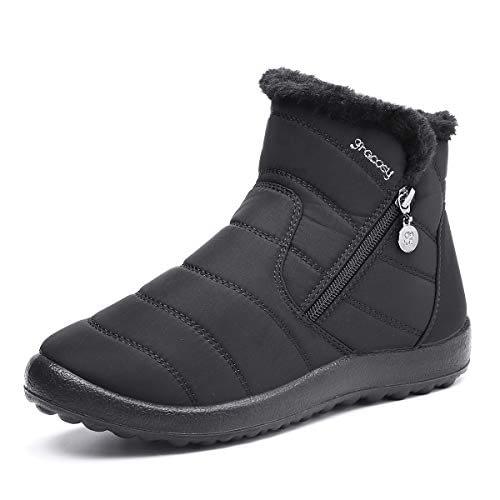 Bottes de neige Gracosy Femme Fille, Bottes de pluie Bottes d'hiver imperméables en fourrure chaude pleine de talons plats Chaussures de ville confortables après le ski