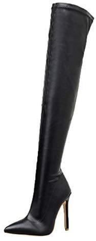 Bottes pour femmes PAOLIAN hiver talon aiguille élevé Chaussures pour femmes Talons hauts Bottes d'automne Femme pas cher Longueur genou Wedge Fausse fourrure Serpentine Robe élégante Mode