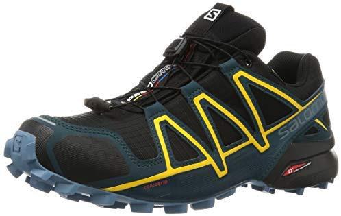 Chaussures de trail running homme Salomon, SPEEDCROSS 4 GTX, Couleur: noir / jaune (noir / étang réfléchissant / jaune spectre), taille: EU 40 2/3