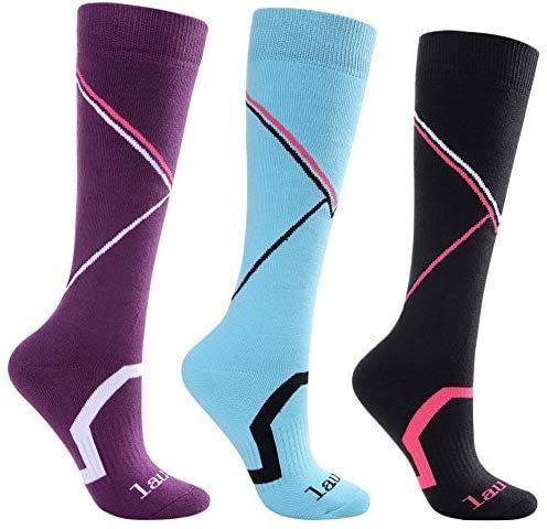 Laulax, pack de 3 paires de chaussettes de ski de haute qualité, pour homme et femme